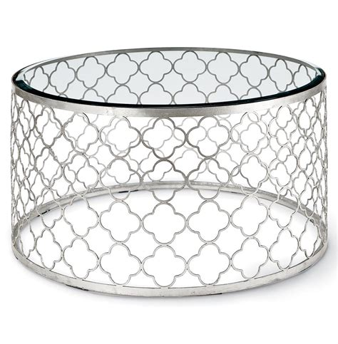 round glass silver coffee table gable hollywood regency glass silver leaf round coffee