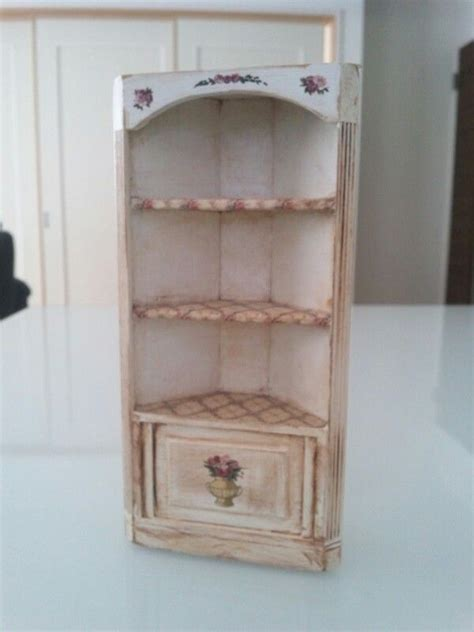 shabby chic corner shelf dollshouse cabinet linnen closet buff