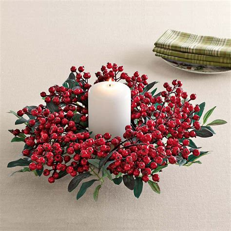 candle ring snow red berries festive berry candle ring gump s