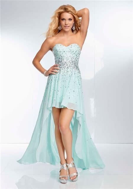 light blue high low dress high low hem strapless sweetheart light baby blue chiffon