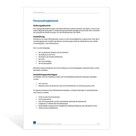 Mahnung Unterhalt Muster Vorlage Personalreglement