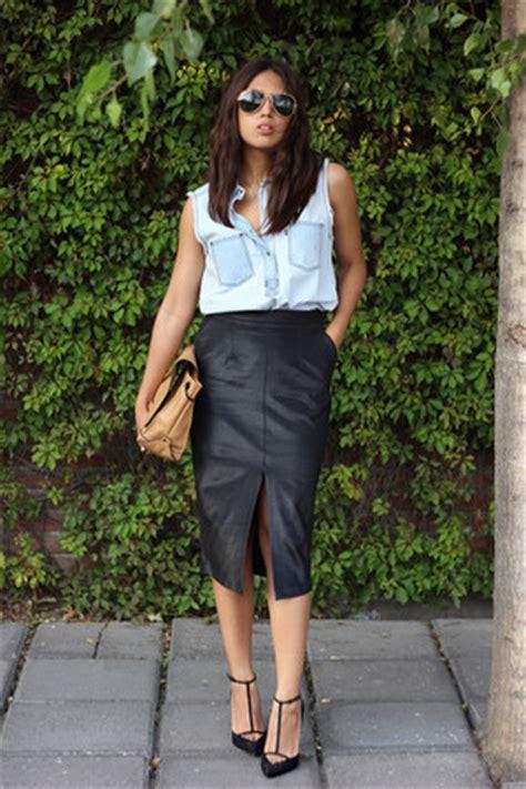 black pencil skirt asos skirts light blue denim shirt