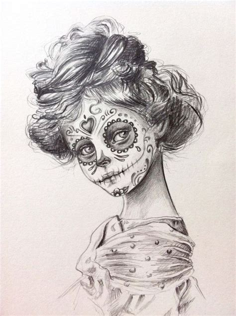 day of the dead sugar skull original drawing art
