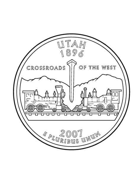 Coloring Page Quarter by Usa Printables Utah State Quarter Us States Coloring Pages