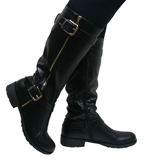 knee high high heel boots womens knee high flat low chunky heel wide fit biker