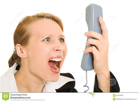 Screaming Phone businesswoman screaming into the phone stock photography
