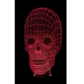 portable 3d illusion skull shape l led lu 3d desain tengkorak black