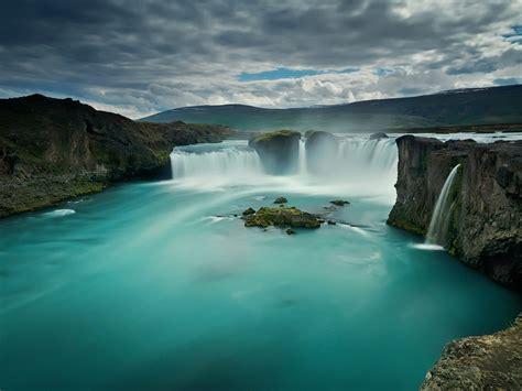 wallpaper godafoss waterfall iceland hd nature