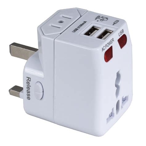 Universal Travel Adapter Jy 166b C 3 Usb 4 5a Plus Type C Port qvs premium world power travel adapter kit white pa c4 b h