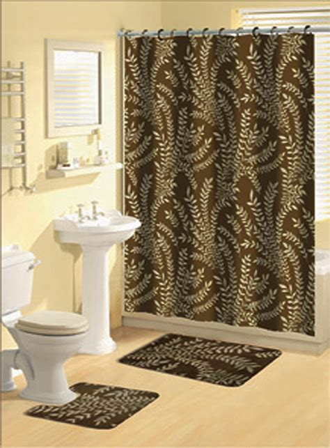 Bathroom Curtain And Rug Sets Brown Multi Floral Ferns Bathroom Shower Curtain Bath Contour Rug 15 Set Ebay