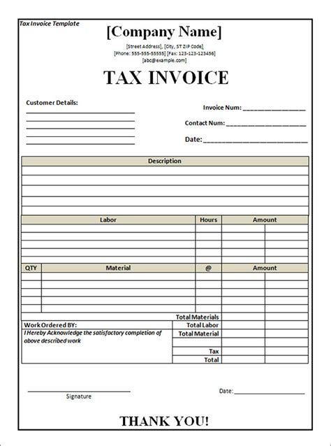 tax invoice template word doc 10 tax invoice templates free documents in