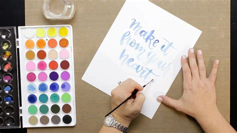 brush lettering tutorial watercolor brush calligraphy with watercolor