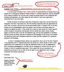graduate school letter of recommendation format grad