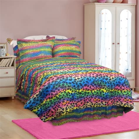 full size bed in a bag sets street revival rainbow leopard full size 7 piece bed in a bag with sheet set free