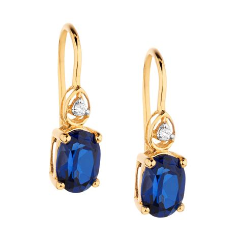 drop earrings with sapphire diamonds in 10ct yellow gold
