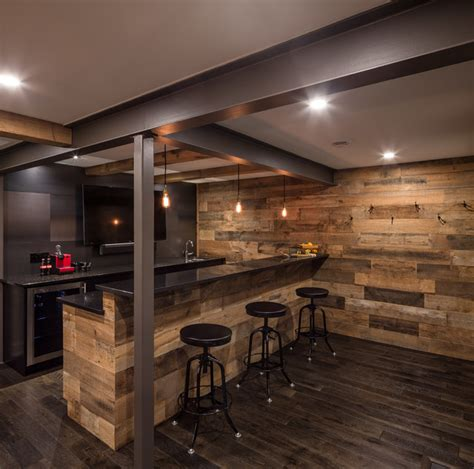 rustic basement bar steel and wood bar just basements ottawa rustic home bar ottawa by just basements