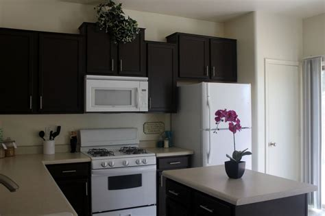 black painted oak kitchen cabinet combined with white appliances and granite countertop plus
