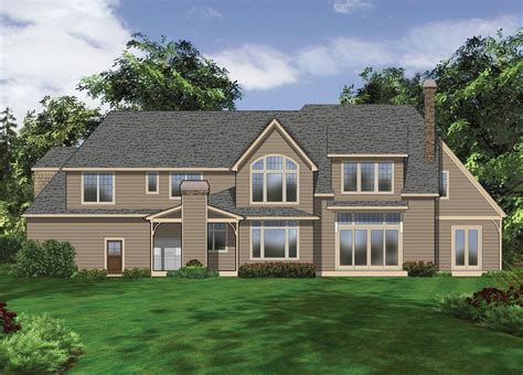 makow custom homes tudor rear elevation nice house house plan 2456 the lyndale