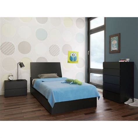 Black Lacquer Bedroom Furniture Roselawnlutheran 4 39 Quot Bedroom Set In Black Lacquer And Melamine