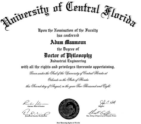 doctorate degree certificate template doctorate degree programs in florida interarchives5