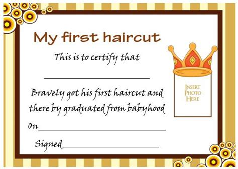 my haircut certificate template my haircut certificate template