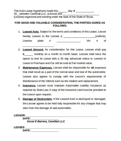 car leasing agreement template vehicle lease agreement templates 7 free