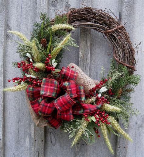 christmas wreath holiday wreath woodland country christmas plaid b