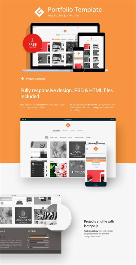 Sle Portfolio Websites Templates Minimalistic Personal Portfolio Website Template Free Psd Download Download Psd