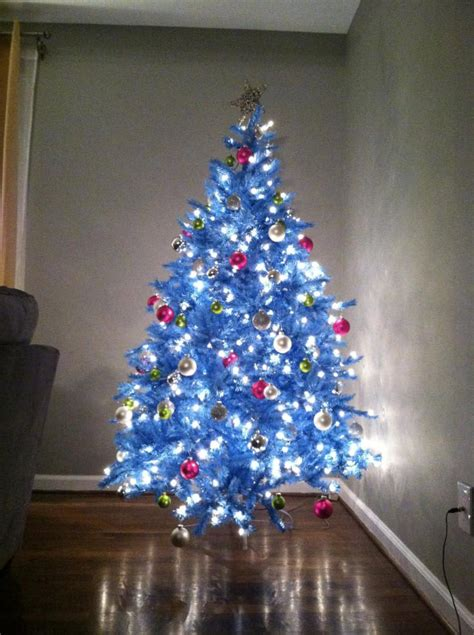 white christmas tree with blue lights www pixshark com