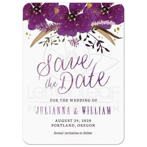 Purple Kitchen Designs Save The Date Cards Pretty Watercolor Violet Flowers