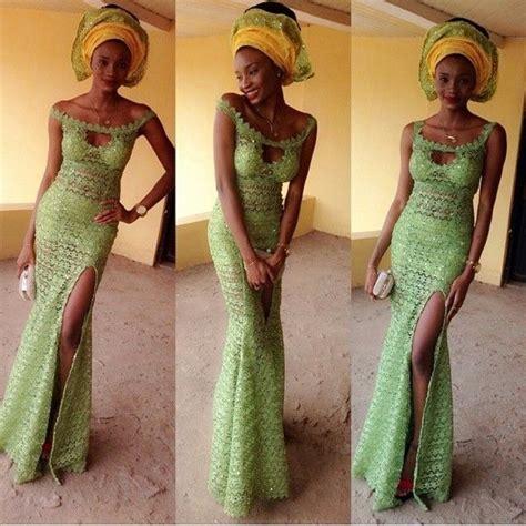 green lace nigerian women designs for weddings hot mint green aso ebi bella follow chiefwedslolo for