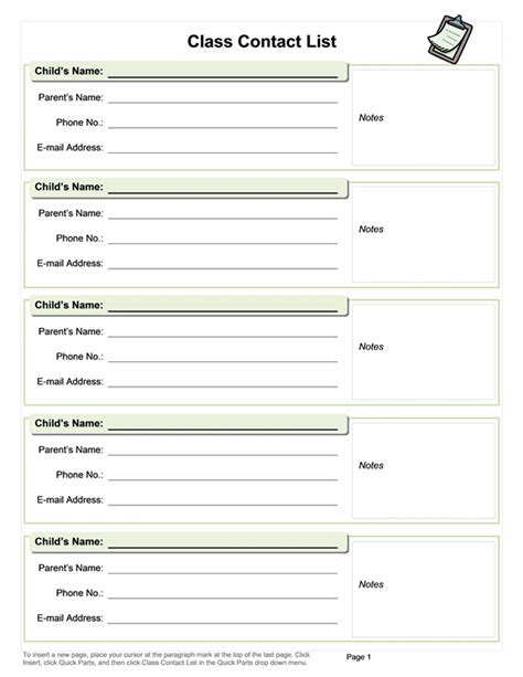 Education Office Com Sheets Contact List Template