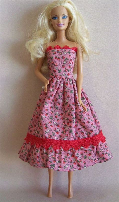 Handmade Doll Clothes - handmade doll clothes pink with strawberries dress