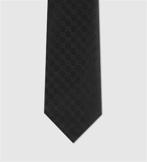 black gucci pattern gucci gg pattern tie in black for men lyst