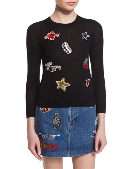 Patch Sweater Marc Sleeve Embroidered Patch Sweater Black
