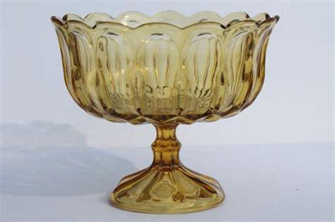 Pedestal Dish Vintage Amber Glass Compote Bowl Pedestal Fruit Dish