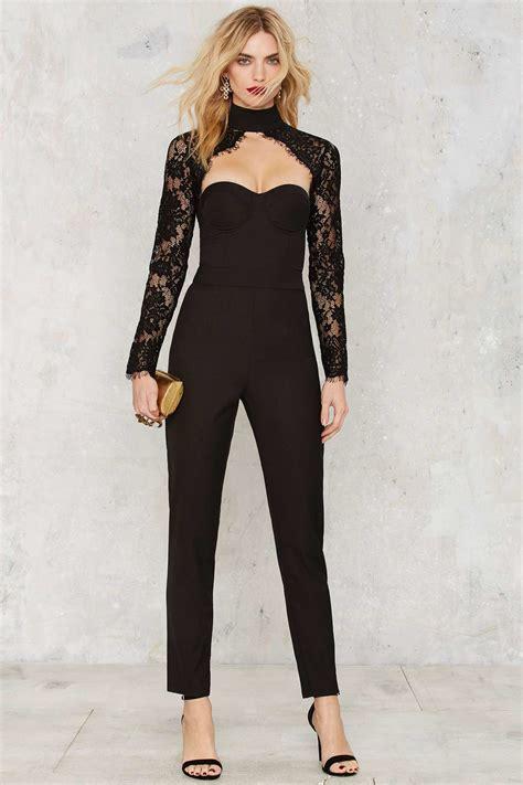Place Jumpsuit lyst misha collection kiara lace jumpsuit in black