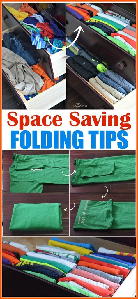 how to fold clothes to save space organizing tip using