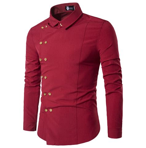 Sleeve Side Button Shirt steunk breasted slim fit sleeve side