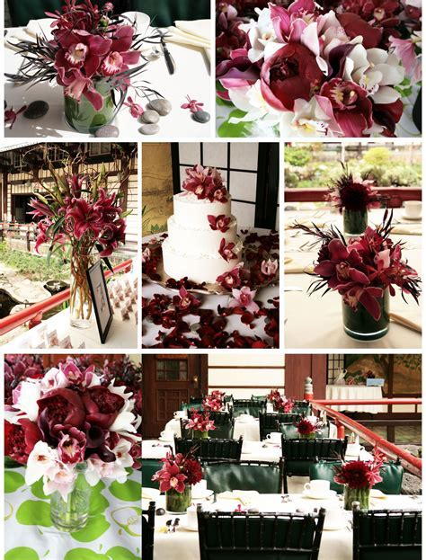 Asian Inspired Burgundy Wedding Flowers   Burgundy wedding