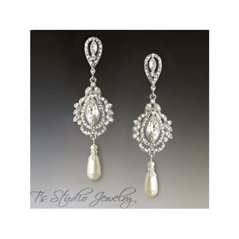 pearl chandelier bridal earrings marquise and pearl chandelier bridal earrings