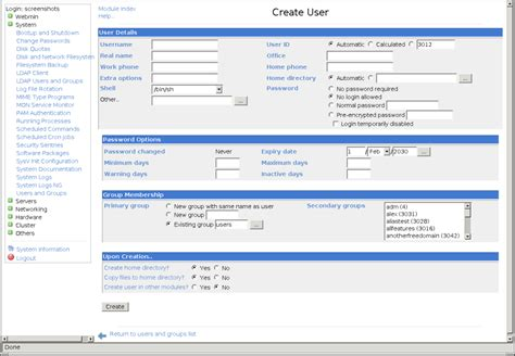 user creation form template users and groups webmin documentation