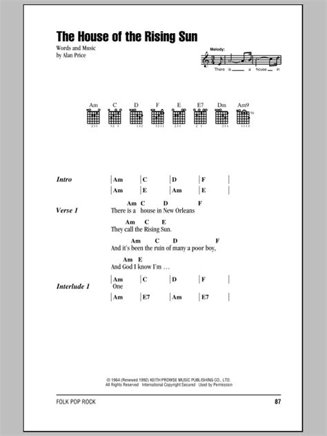 who wrote the song house of the rising sun house of the rising sun guitar chords lyrics sheet music download