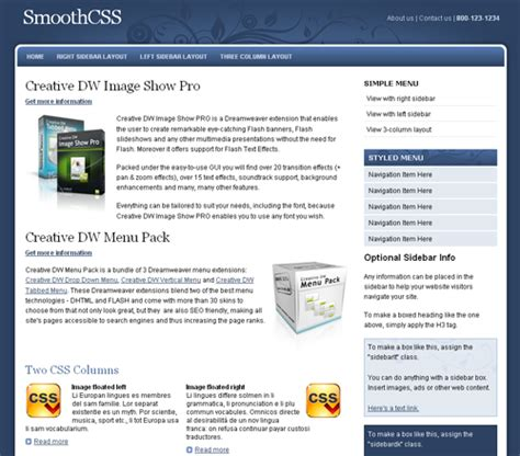 css layout right sidebar smooth css template templates dmxzone com