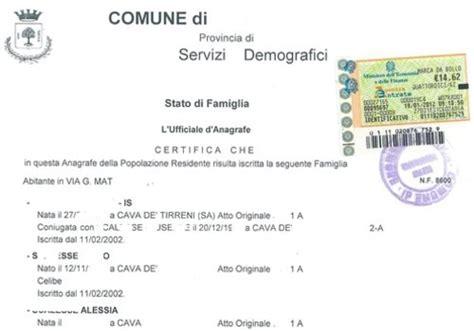 ufficio stato civile napoli richiesta certificato di stato di famiglia storico