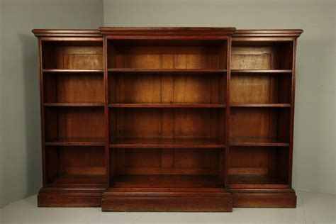 Quality Large Antique Walnut Open Bookcase Large Bookshelves For Sale