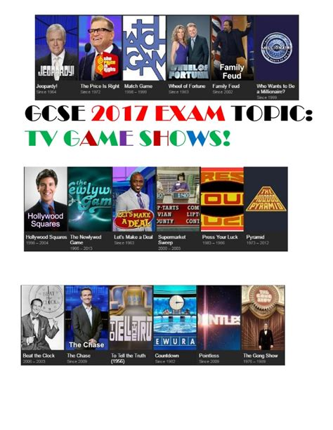 tv show 2017 2017 exam topic tv game show display