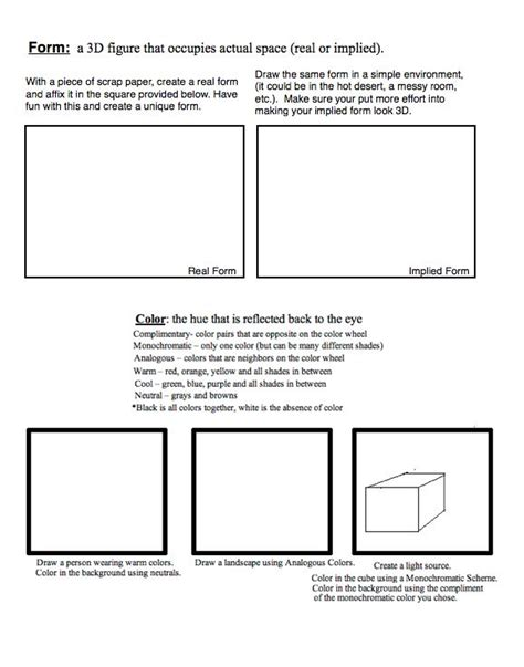 Elements Of Worksheet High School by Elements Elements And Principles Of Design
