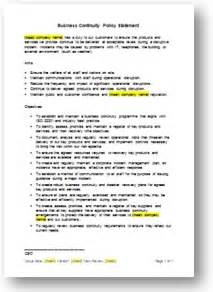 business policy templates business continuity templates business continuity plan