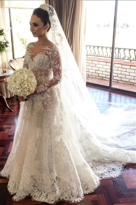 Classic Lace A Line Wedding Dress 2018 Long Sleeve with